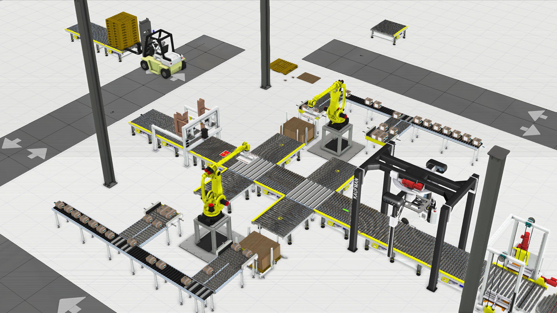 A Visual components simulation of a palletizing and packing line