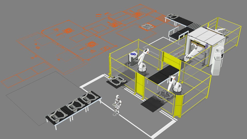 Simulation of arc welding robots working at a manufacturing line