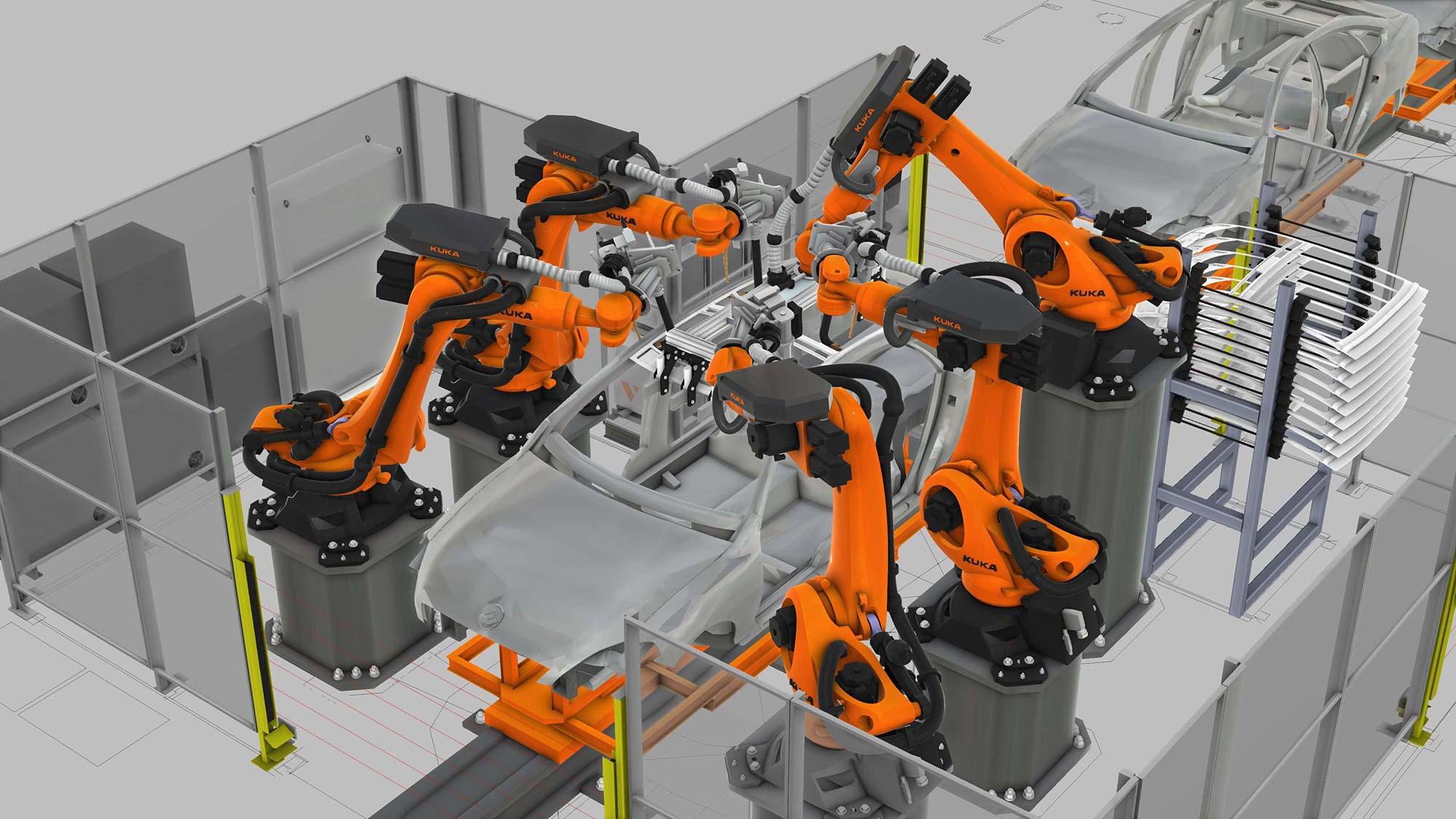 five KUKA robots working on a car body