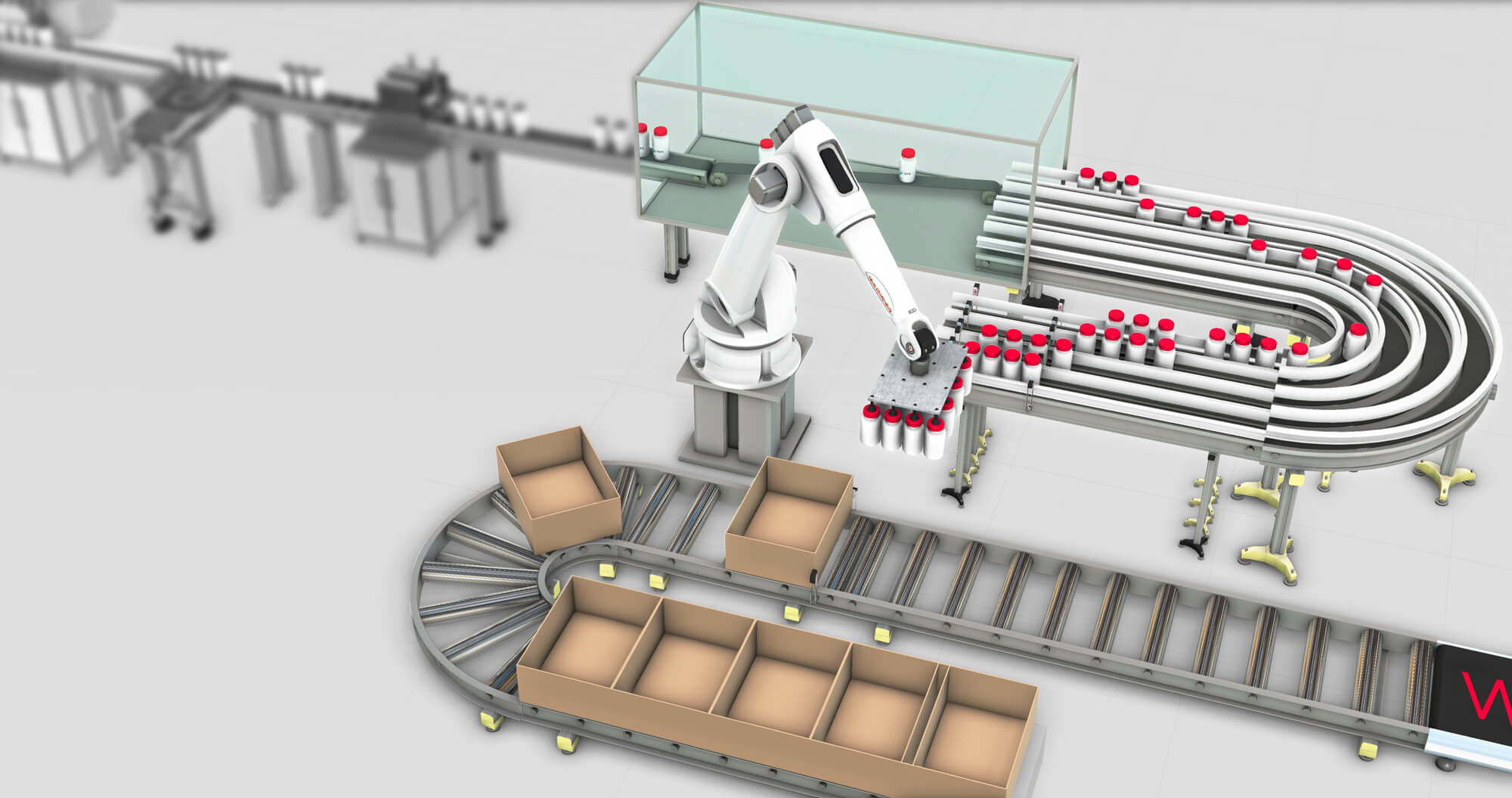 a pharmaceutical packaging line