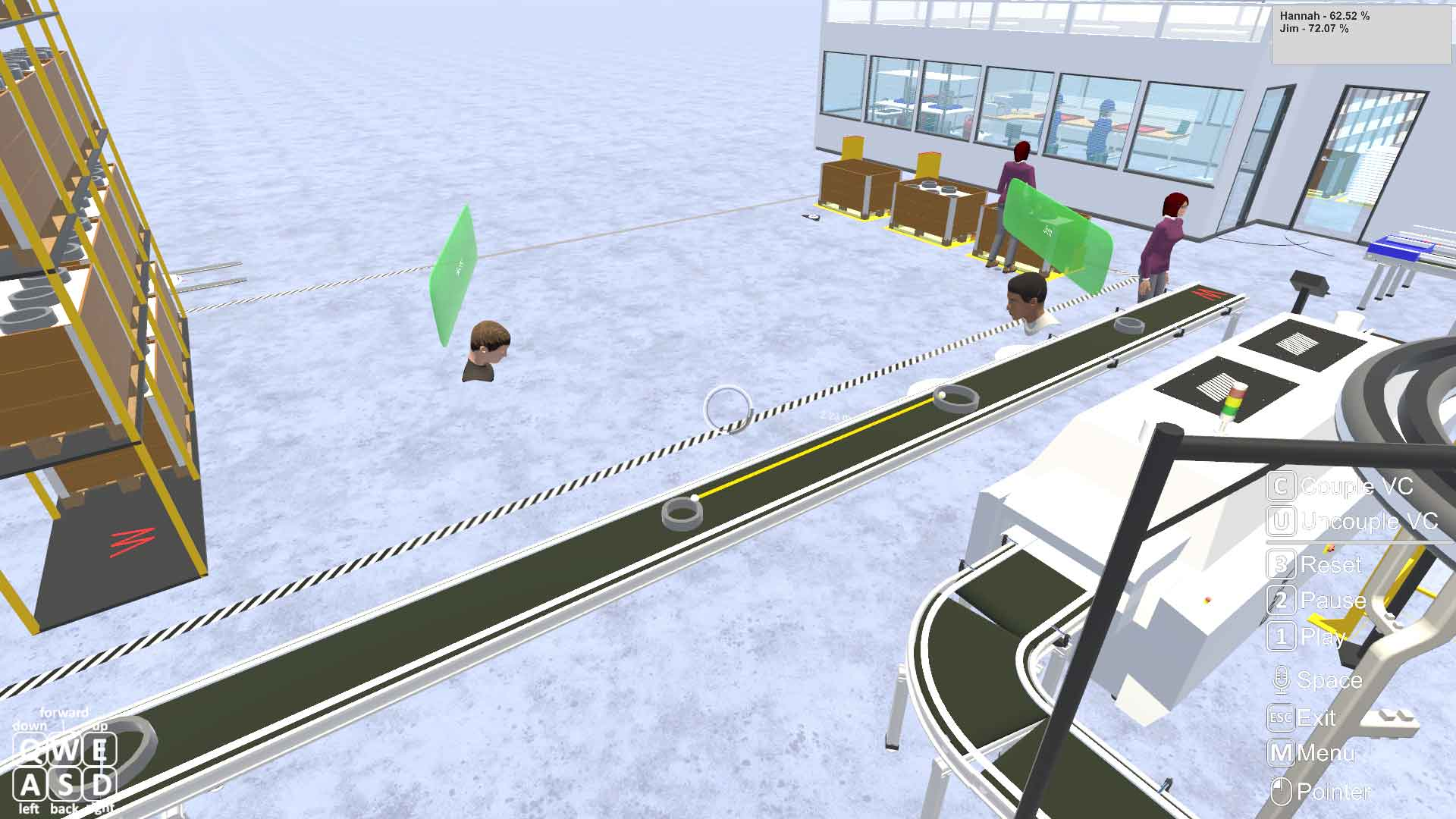 A STAGE simulation of conveyor belt placement