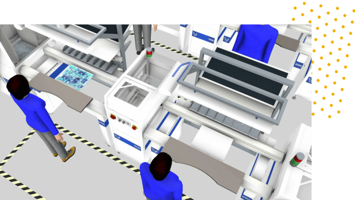 a simulation of two people at a manufacturing line