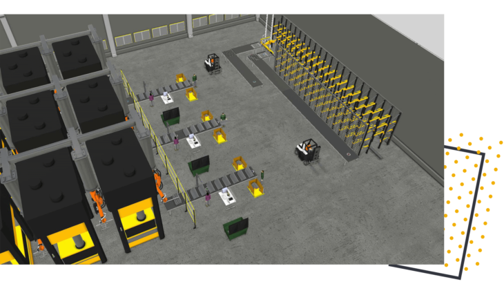 a manufacturing line with robots, people and forklifts