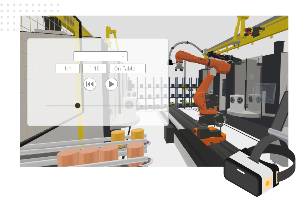 a VR 3D rendering of a production line using Visual Components Experience