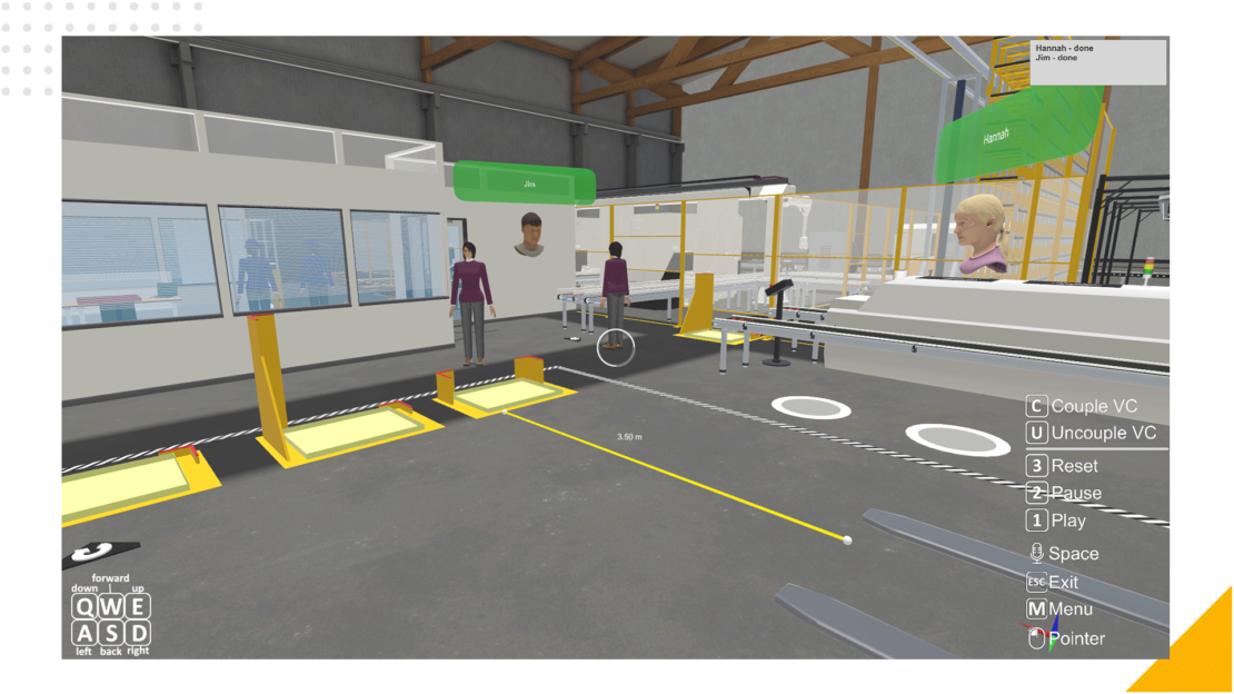 a VR 3D rendering of working at a production line