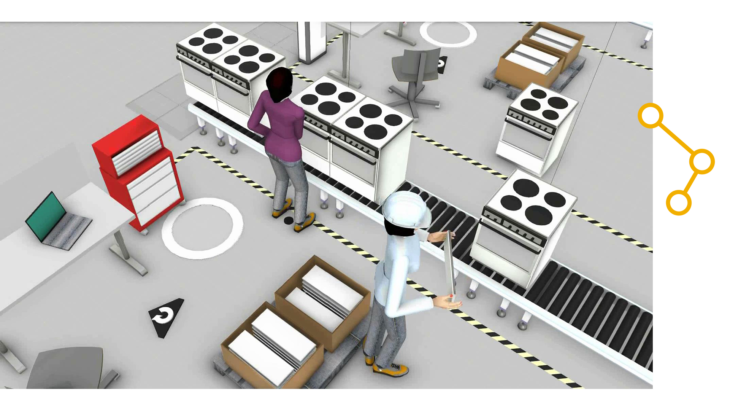 a rendering of a white goods assembly line
