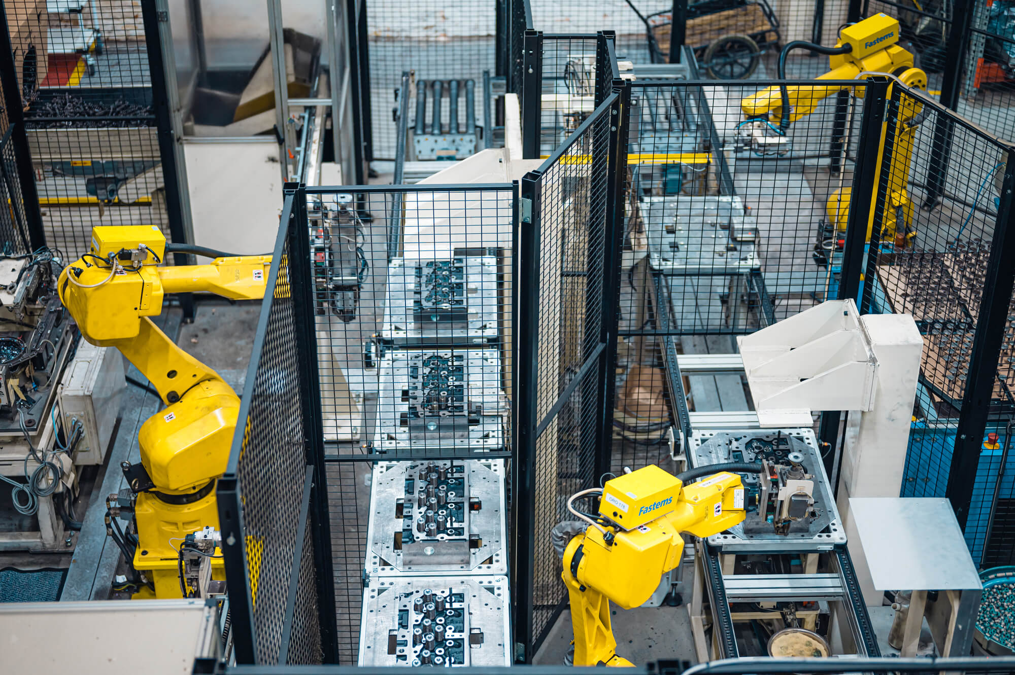 AGCO factory with Fastems robots working at a production line