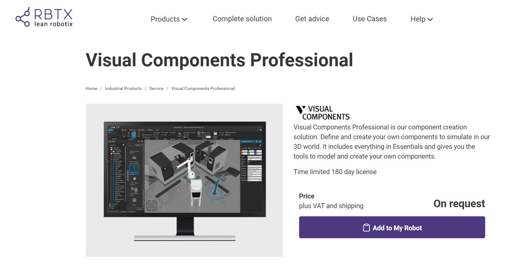 igus RBTX + Visual Components