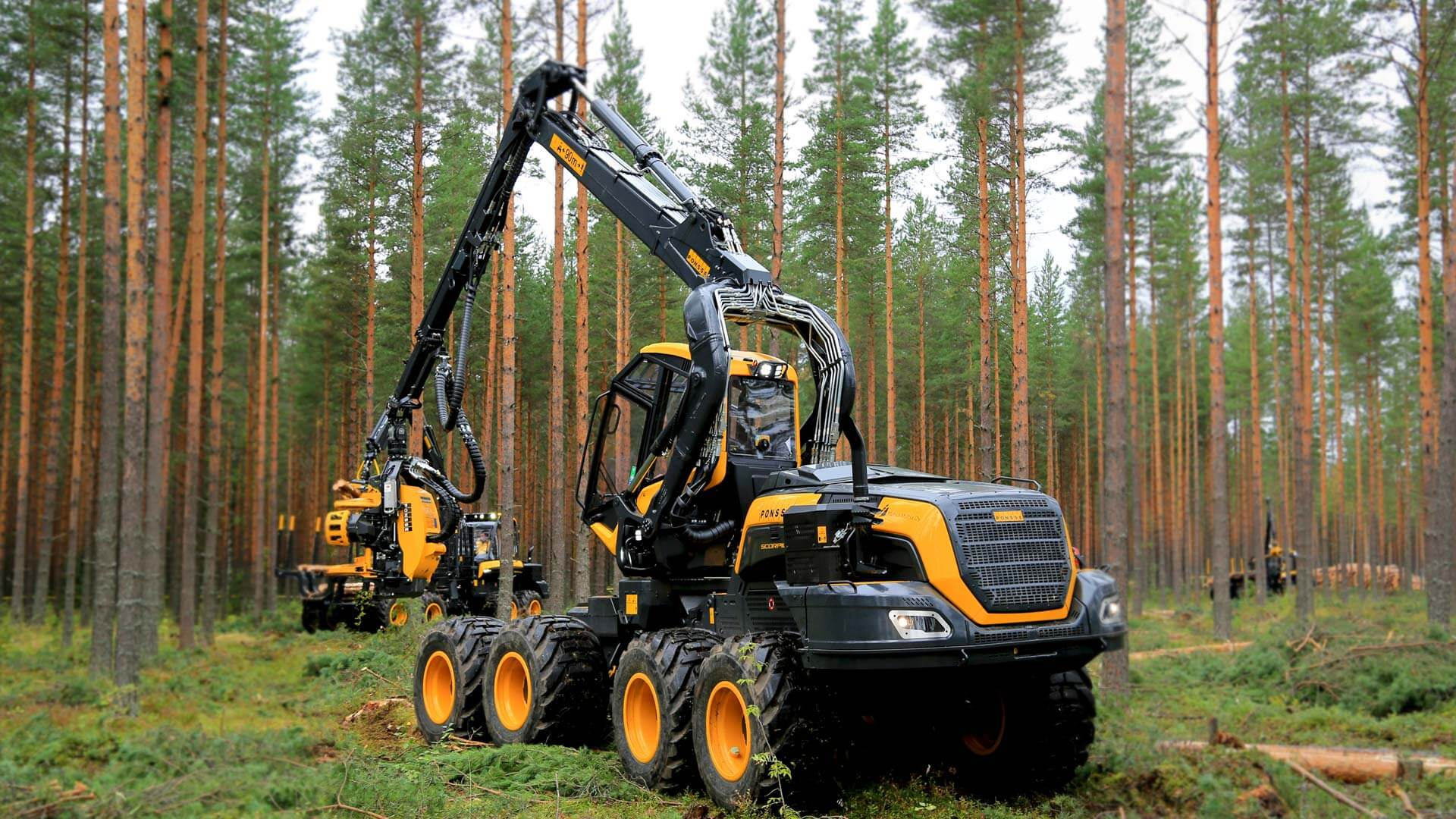 A Ponsse forestry machine at work in the woods