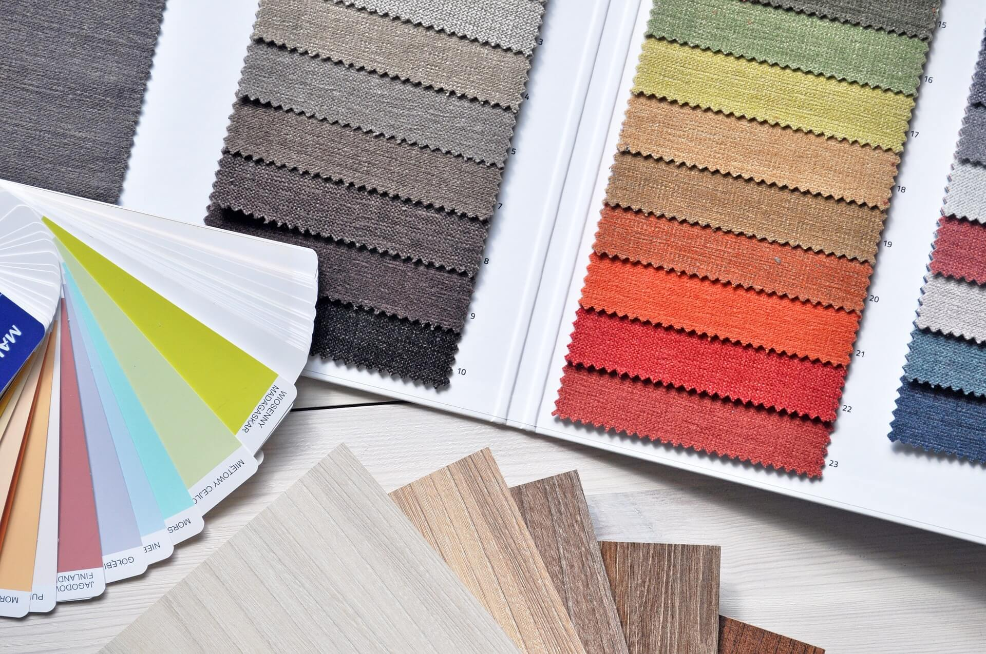 Various color charts of fabrics
