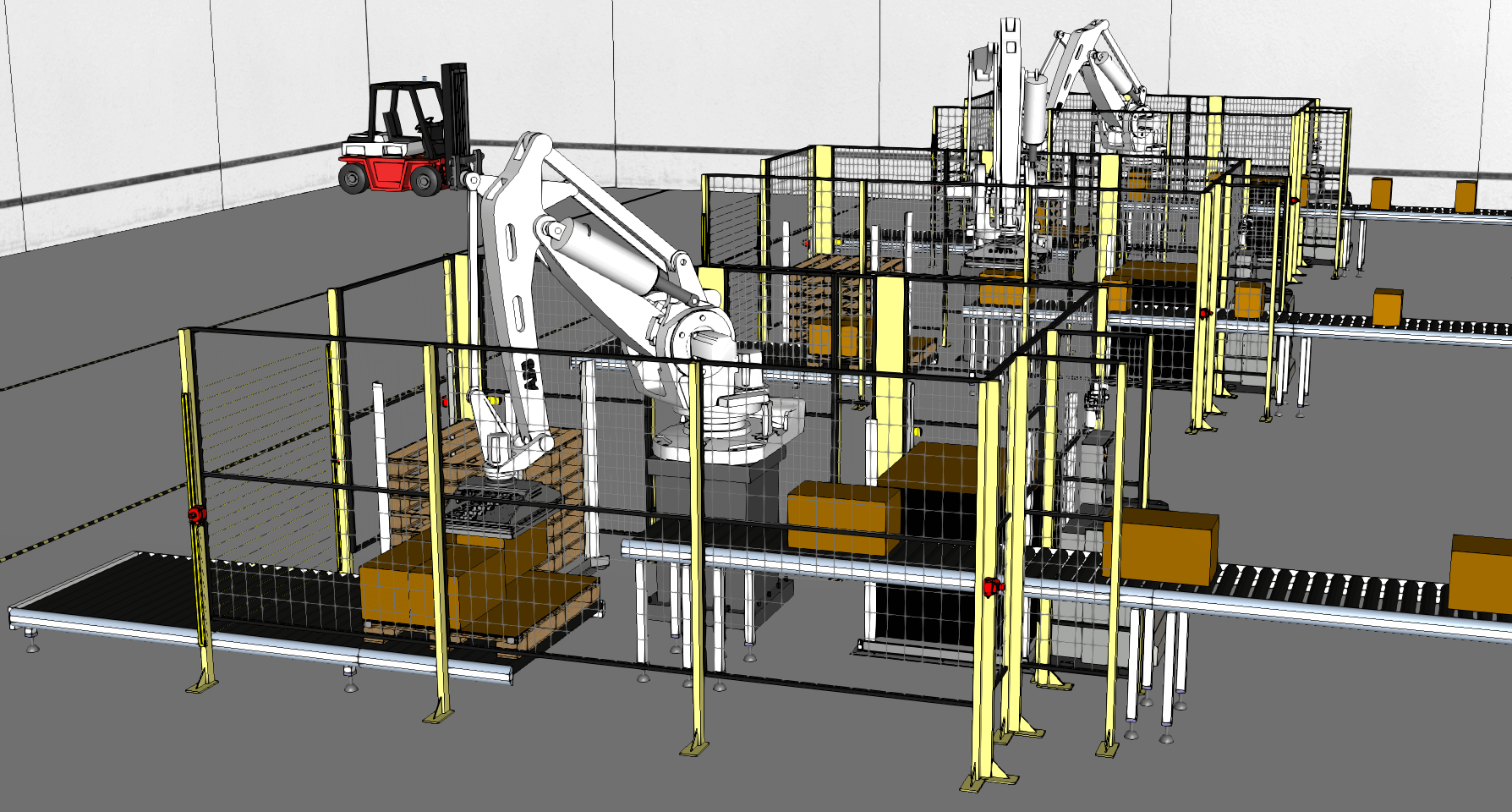 Rendering of robots at a conveyor belt