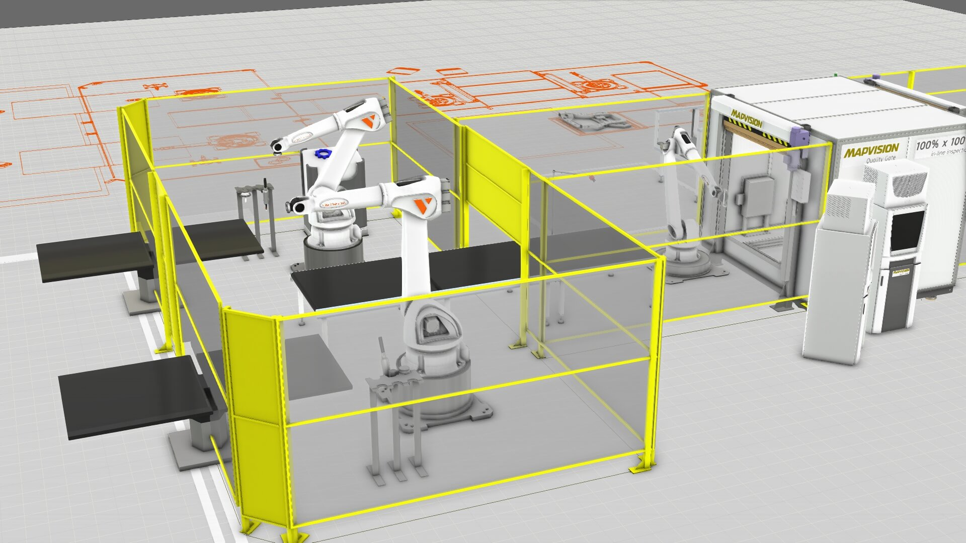 Plant and manufacturing simulation with robots welding