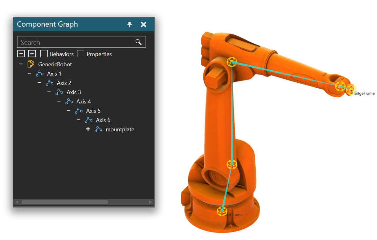 3d plant simulation software with a robot part