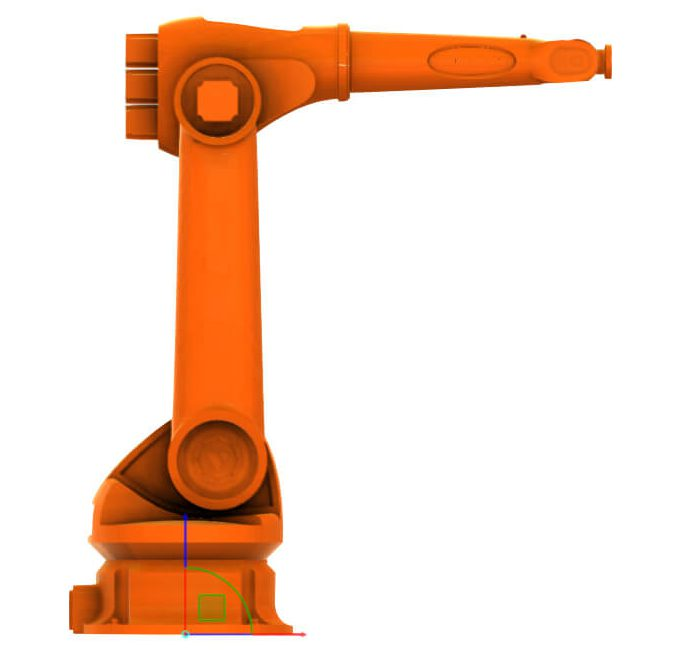 Industrial robot simulation software with a robot part