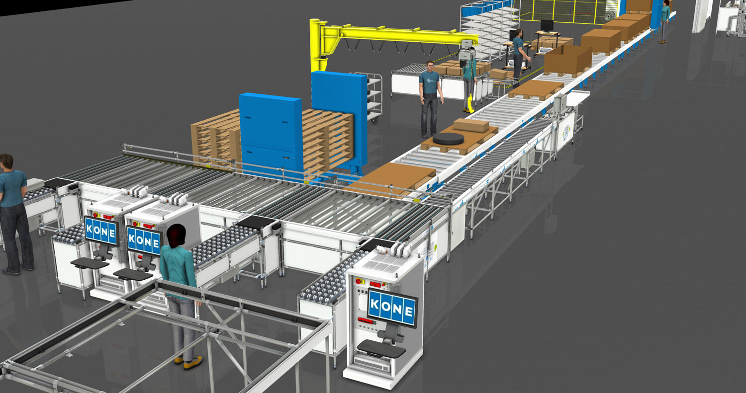 Simulation of a production line where people and robots work together