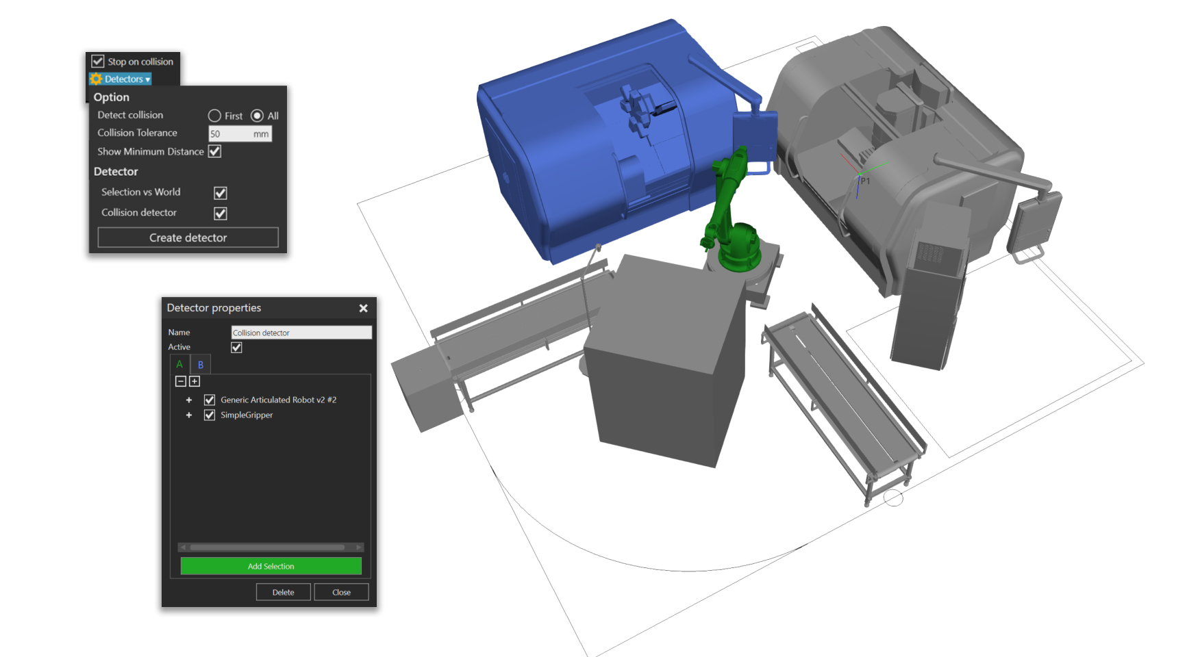 Collision detection feature in the Simple Robotics toolkit