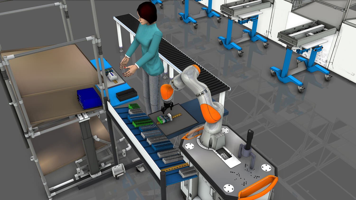 Simulation of a person working together with a robot at a production line