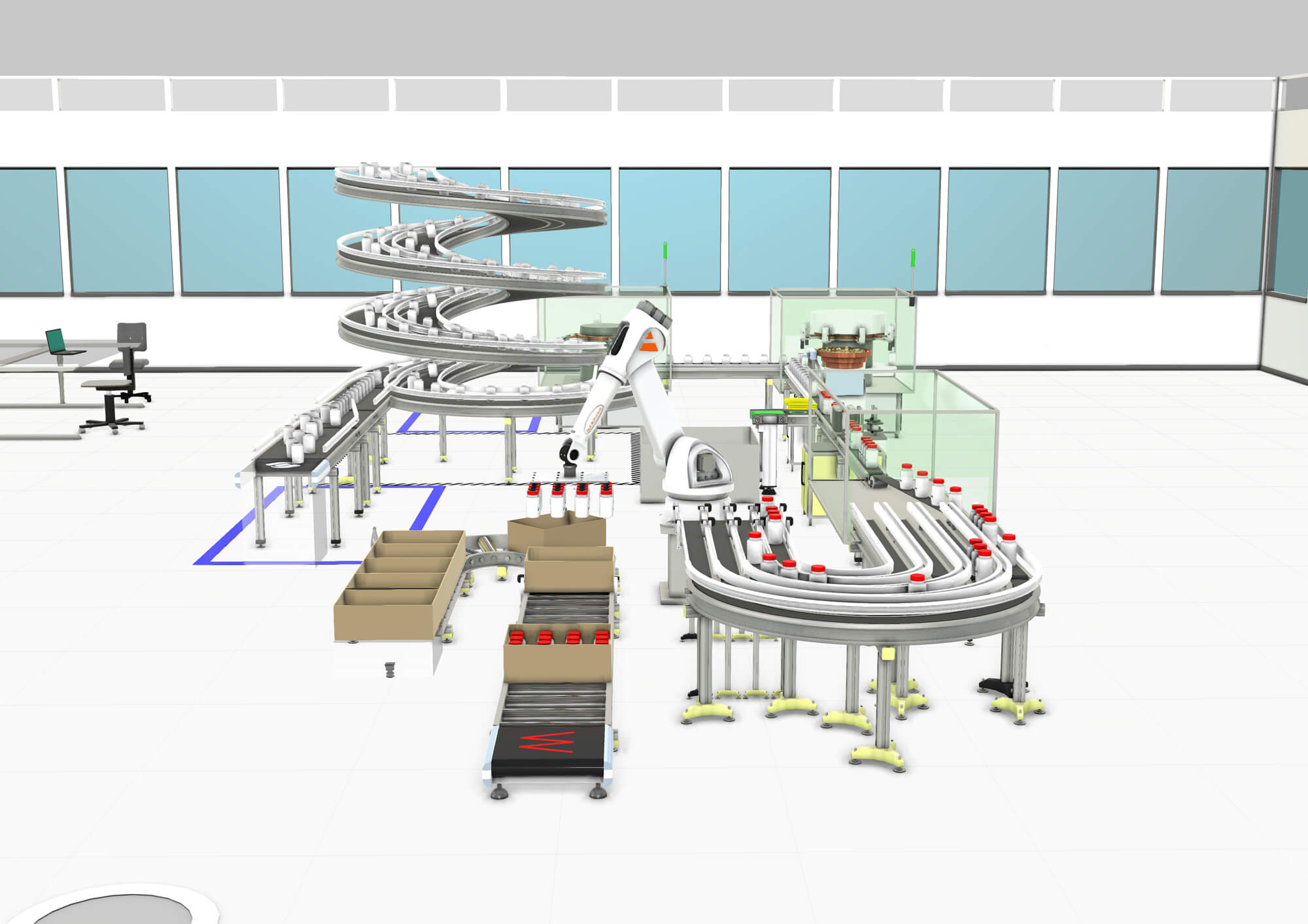 Pharmaceutical packaging line simulation