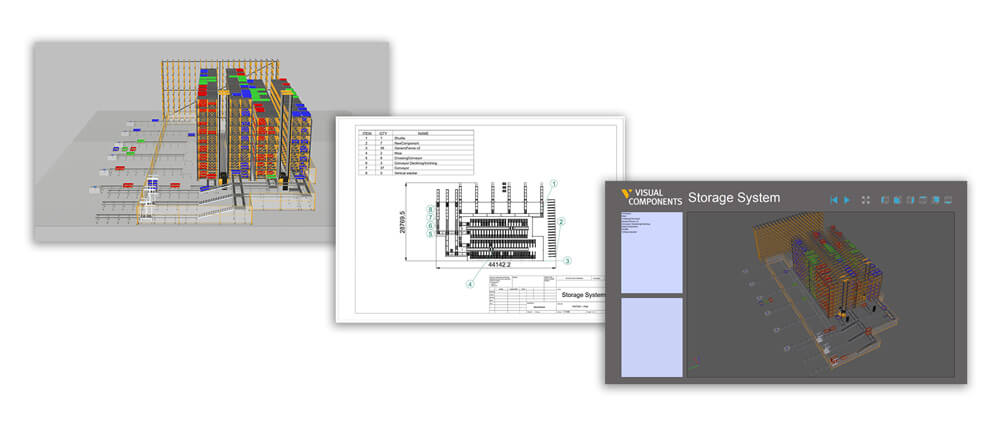 three pictures of plant simulation software