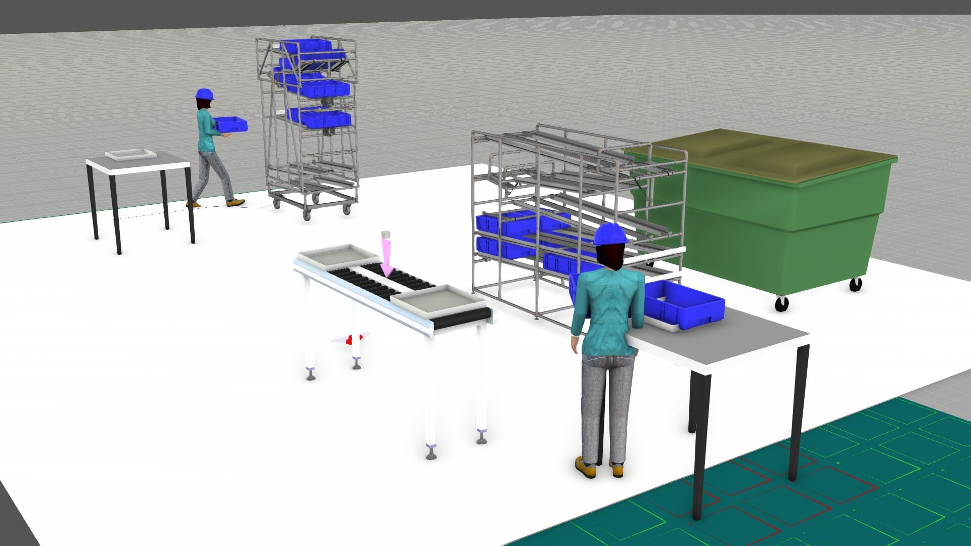 Simulation of shooter wagons at a production line