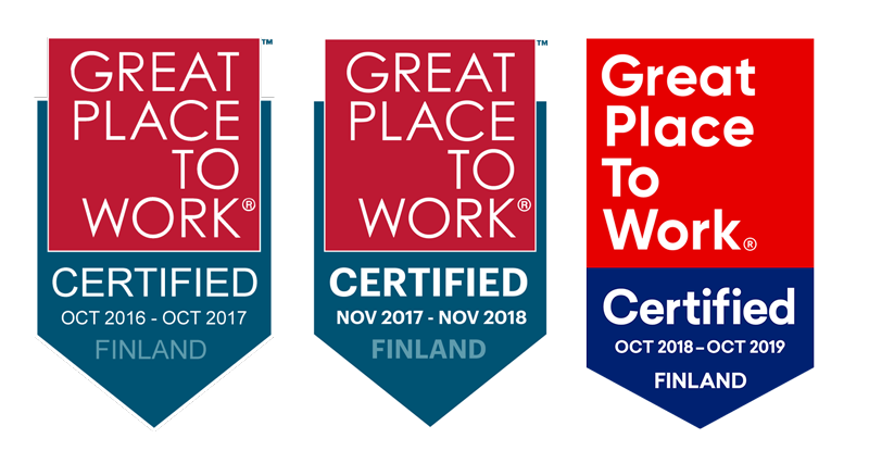 Great place to work certificates from 2017, 2018 and 2019