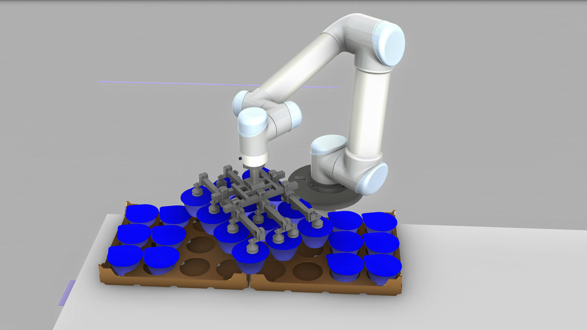 A simulation of a dairy packaging cell