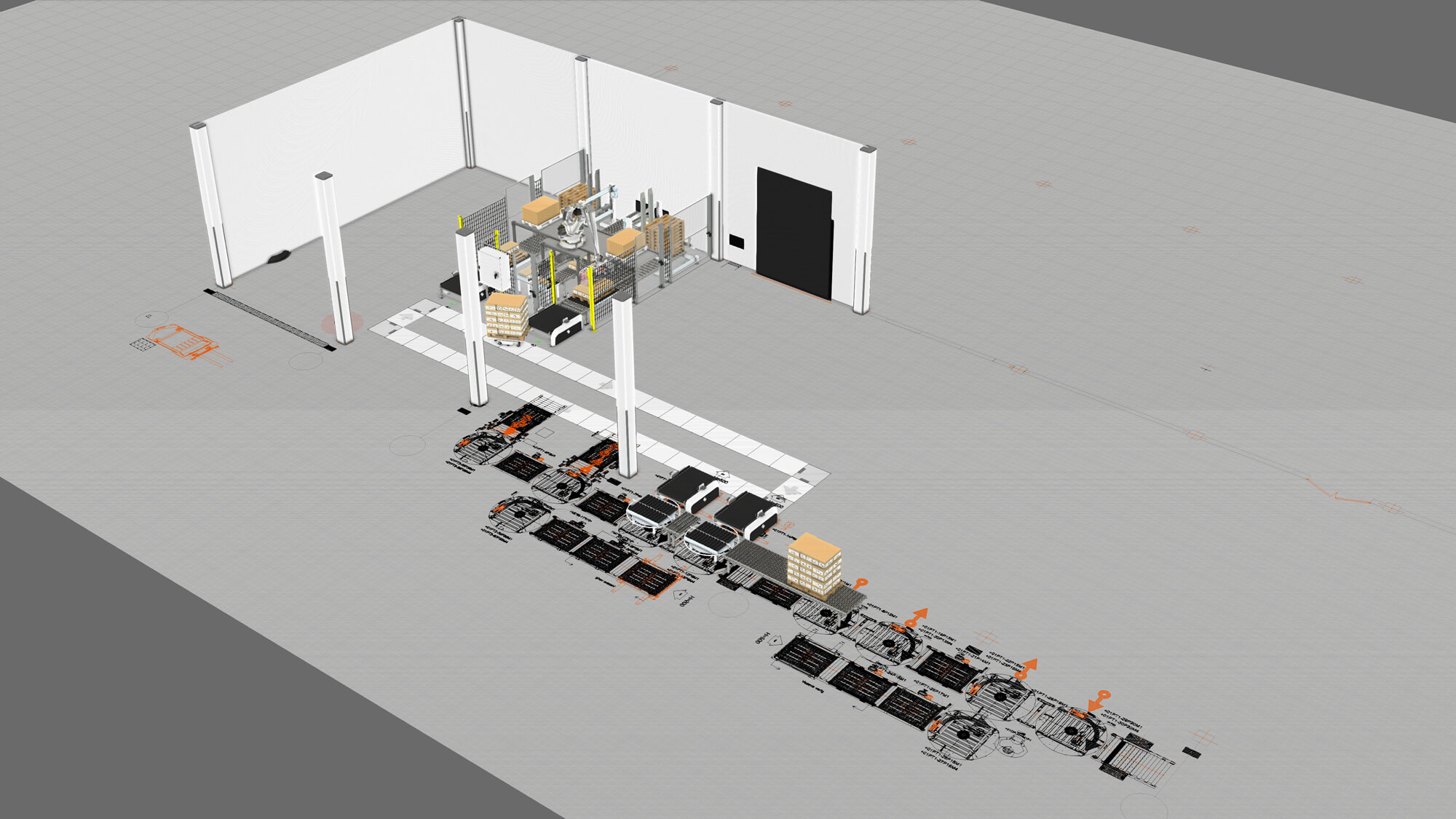 Packaging line layout