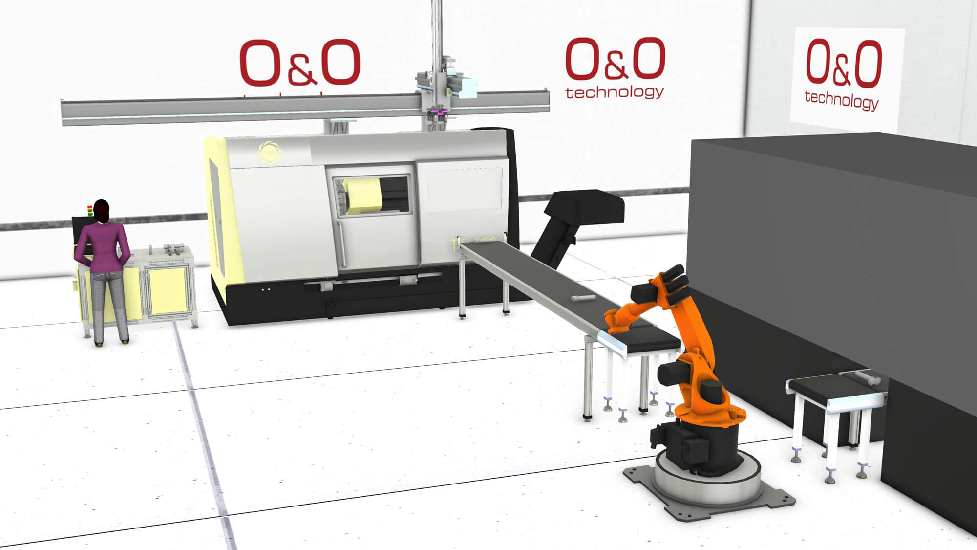 Simulation of a person programming at a production line and a robot manufacturing