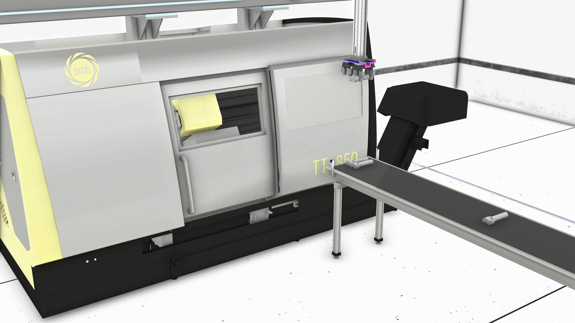 Production line simulation with a conveyor belt