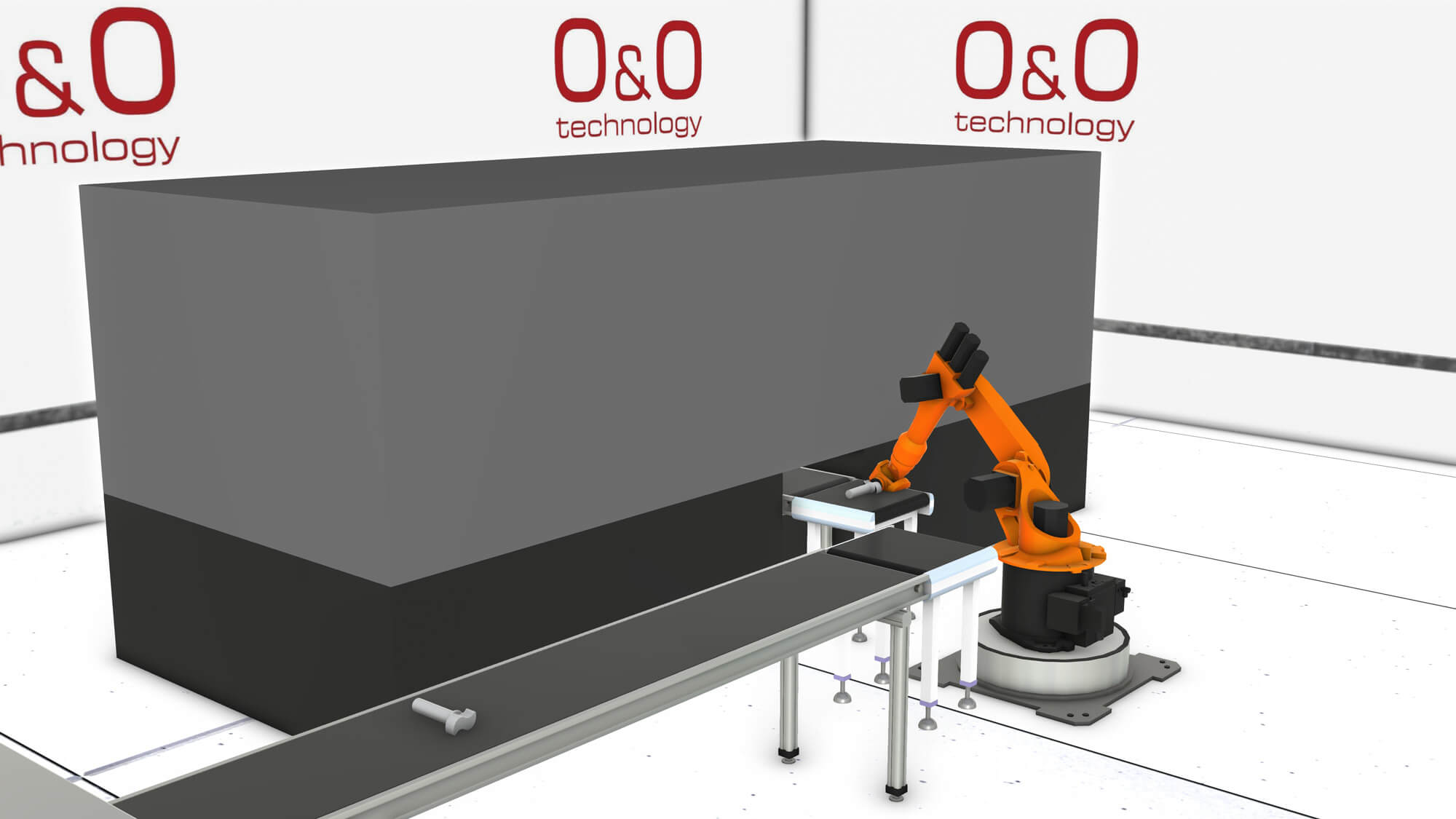 A robot working at a conveyor belt