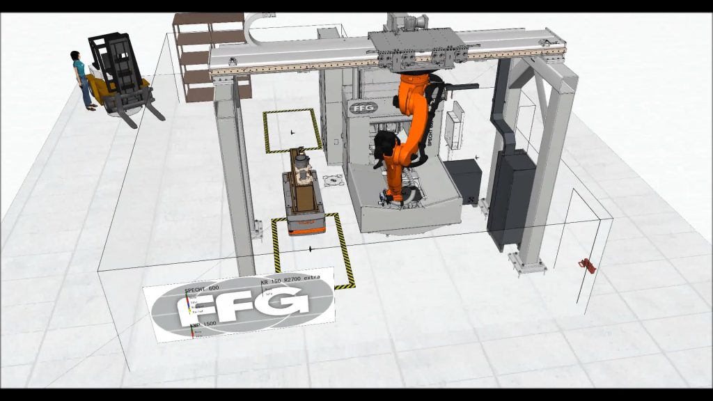 Kuka Quantec robot and a forklift