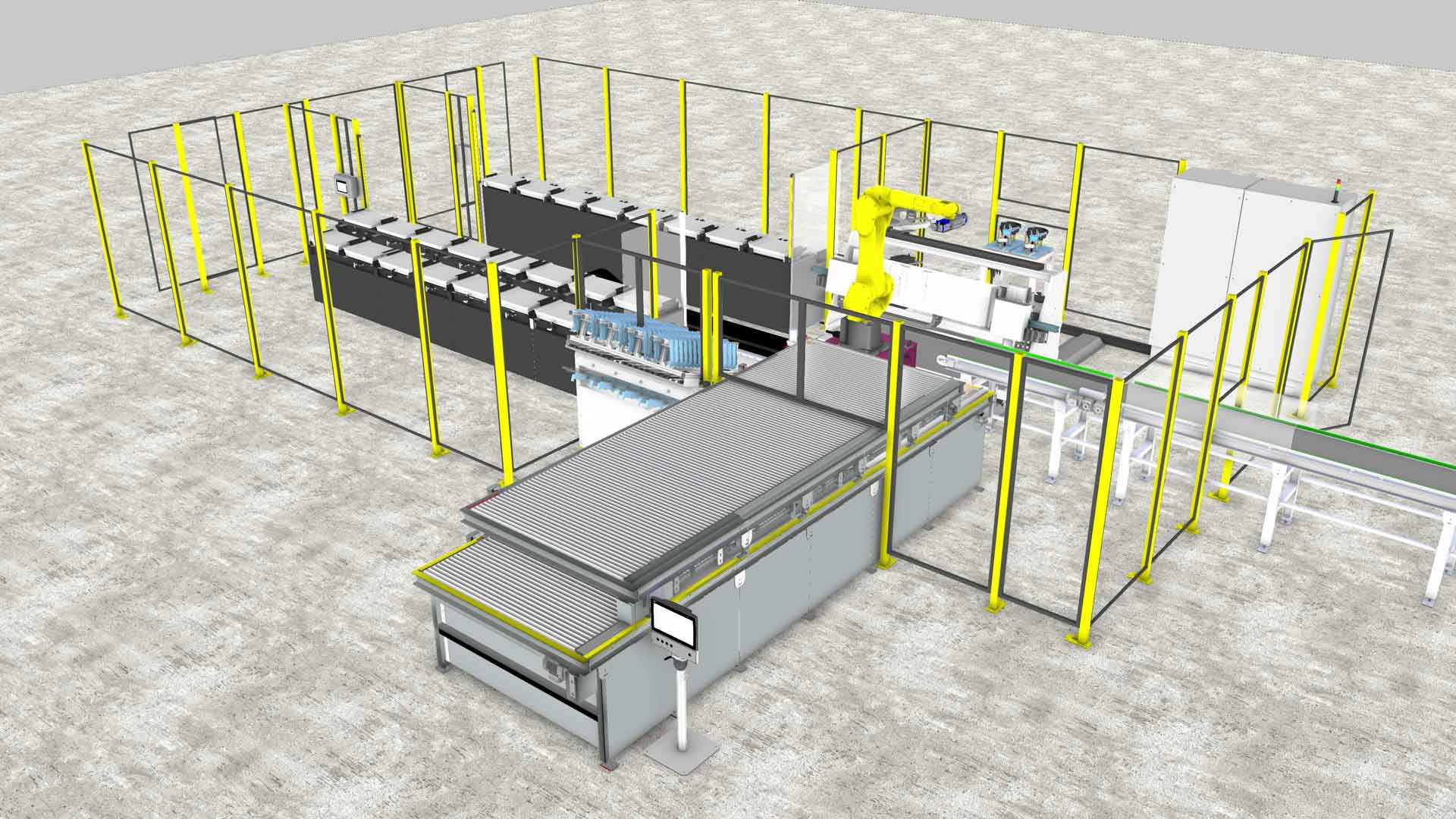 a rendering of a robot working at a manufacturing line